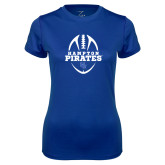 Ladies Syntrel Performance Royal Tee-Vertical Football Design