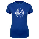 Ladies Syntrel Performance Royal Tee-Basketball Ball Design