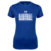Ladies Syntrel Performance Royal Tee-Basketball Stacked Design