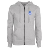 ENZA Ladies Grey Fleece Full Zip Hoodie-Hampton Pirates