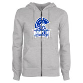 ENZA Ladies Grey Fleece Full Zip Hoodie-Hampton Lady Pirates