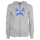 ENZA Ladies Grey Fleece Full Zip Hoodie-Hampton Pirates Swords