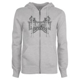 ENZA Ladies Grey Fleece Full Zip Hoodie-Hampton Pirates Swords Glitter