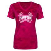 Ladies Pink Raspberry Camohex Performance Tee-Hampton Pirates Swords