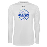 Under Armour White Long Sleeve Tech Tee-Basketball Ball Design