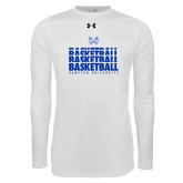 Under Armour White Long Sleeve Tech Tee-Basketball Stacked Design