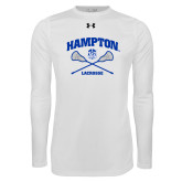 Under Armour White Long Sleeve Tech Tee-Lacrosse Crossed Sticks