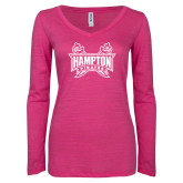 ENZA Ladies Hot Pink Long Sleeve V Neck Tee-Hampton Pirates Swords