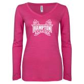 ENZA Ladies Hot Pink Long Sleeve V Neck Tee-Hampton Pirates Swords