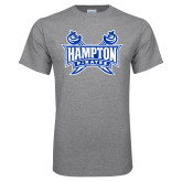 Grey T Shirt-Hampton Pirates Swords Distressed
