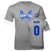 Grey T Shirt-Hampton Pirates Swords, Custom Tee w/ Name and #