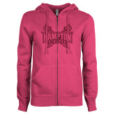 ENZA Ladies Fuchsia Fleece Full Zip Hoodie-Hampton Pirates Swords Glitter