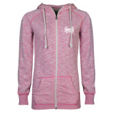 ENZA Ladies Hot Pink Marled Full Zip Hoodie-Hampton Pirates Swords