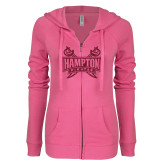 ENZA Ladies Hot Pink Light Weight Fleece Full Zip Hoodie-Hampton Pirates Swords Glitter