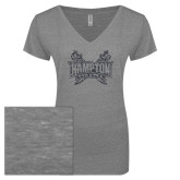 ENZA Ladies Graphite Melange V Neck Tee-Hampton Pirates Swords Glitter