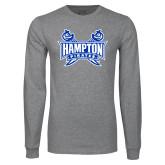 Grey Long Sleeve T Shirt-Hampton Pirates Swords