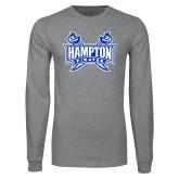 Grey Long Sleeve T Shirt-Hampton Pirates Swords Distressed