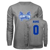 Grey Long Sleeve T Shirt-Hampton Pirates Swords, Custom Tee w/ Name and #