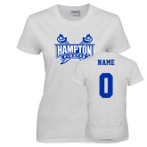 Ladies White T Shirt-Hampton Pirates Swords, Custom Tee w/ Name and #