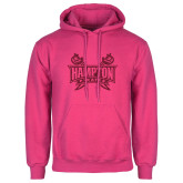 Fuchsia Fleece Hoodie-Hampton Pirates Swords Glitter