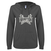 ENZA Ladies Dark Heather V-Notch Raw Edge Fleece Hoodie-Hampton Pirates Swords Glitter