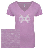ENZA Ladies Violet Melange V Neck Tee-Hampton Pirates Swords Glitter
