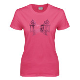 Ladies Fuchsia T Shirt-Hampton Pirates Swords