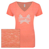 ENZA Ladies Coral Melange V Neck Tee-Hampton Pirates Swords Glitter
