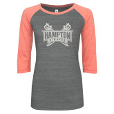 ENZA Ladies Dark Heather/Coral Vintage Triblend Baseball Tee-Hampton Pirates Swords Glitter