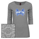 Ladies Grey Heather Tri Blend Lace 3/4 Sleeve Tee-Hampton Pirates Swords