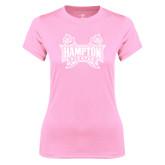 Ladies Performance Light Pink Tee-Hampton Pirates Swords