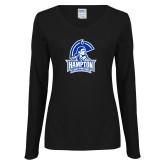 Ladies Black Long Sleeve V Neck T Shirt-Hampton Lady Pirates