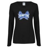 Ladies Black Long Sleeve V Neck T Shirt-Hampton Pirates Swords