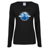 Ladies Black Long Sleeve V Neck T Shirt-Celebrating A Legacy and A Legend of Excellence