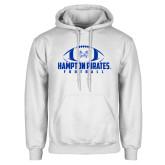White Fleece Hoodie-Football Stacked Ball Design
