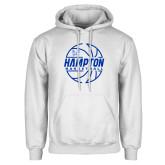 White Fleece Hoodie-Basketball Ball Design