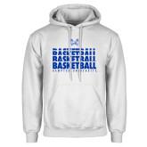 White Fleece Hoodie-Basketball Stacked Design