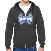 Charcoal Fleece Full Zip Hoodie-Hampton Pirates Swords