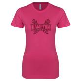 Ladies SoftStyle Junior Fitted Fuchsia Tee-Hampton Pirates Swords Glitter