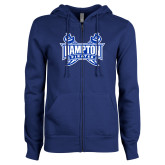ENZA Ladies Royal Fleece Full Zip Hoodie-Hampton Pirates Swords