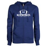 ENZA Ladies Royal Fleece Full Zip Hoodie-Football Stacked Ball Design