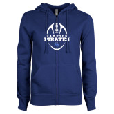 ENZA Ladies Royal Fleece Full Zip Hoodie-Vertical Football Design