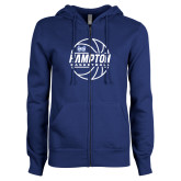 ENZA Ladies Royal Fleece Full Zip Hoodie-Basketball Ball Design