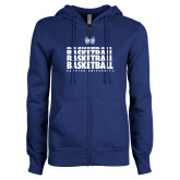 ENZA Ladies Royal Fleece Full Zip Hoodie-Basketball Stacked Design