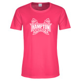 Ladies Performance Hot Pink Tee-Hampton Pirates Swords