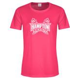 Ladies Performance Hot Pink Tee-Hampton Pirates Swords