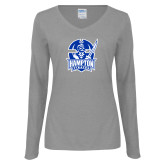 Ladies Grey Long Sleeve V Neck T Shirt-Hampton Pirates