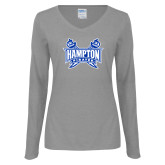Ladies Grey Long Sleeve V Neck T Shirt-Hampton Pirates Swords