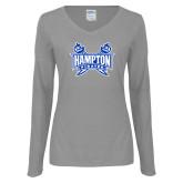 Ladies Grey Long Sleeve V Neck T Shirt-Hampton Pirates Swords
