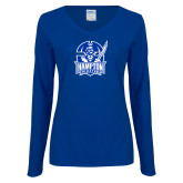 Ladies Royal Long Sleeve V Neck T Shirt-Hampton Pirates